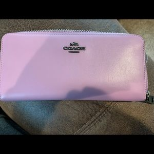 Coach leather accordion zip around wallet